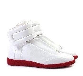 белые высокие кеды мужские | Высокие демисезонный для мужчин лоскутное черный, белый цвет красный из натуральной кожи повседневные кроссовки Hook & Hoop Смешанные Цвет Брен...