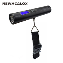 NEWACALOX 50kg x 10g LCD Digital Travel Weight Electronic Fishing Luggage Scale Weighing Hanging Scale with Flash Light