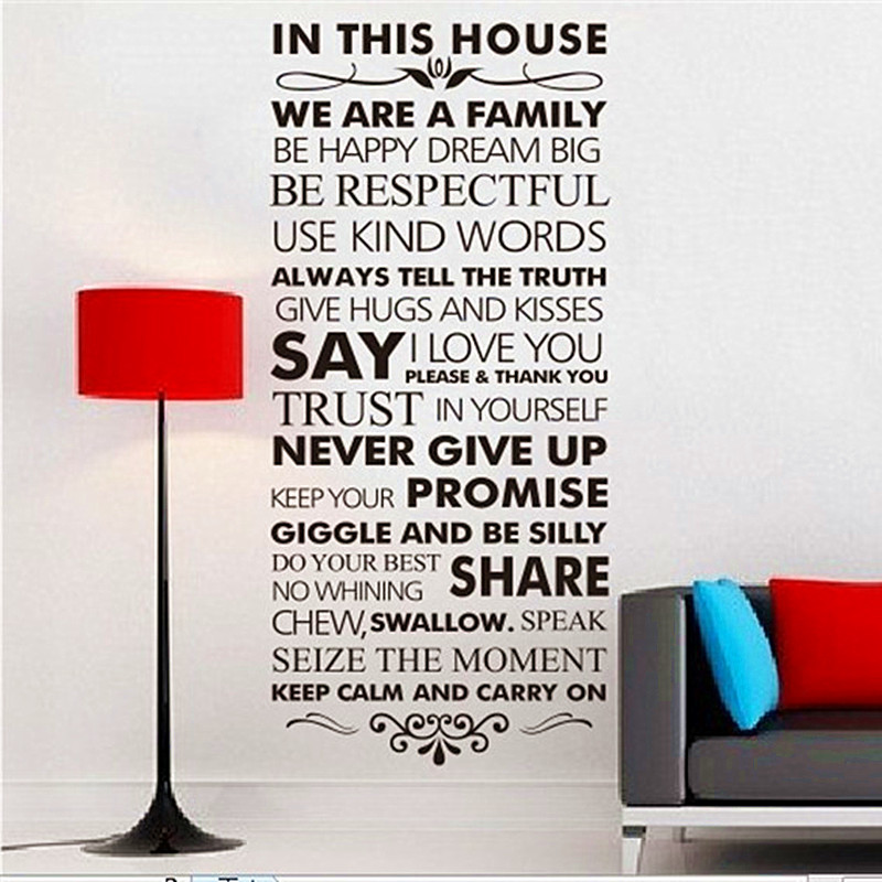 house rules posters solid adesivo para parede english proverbs wall sticker quotes bedroom modern creative house rules posters