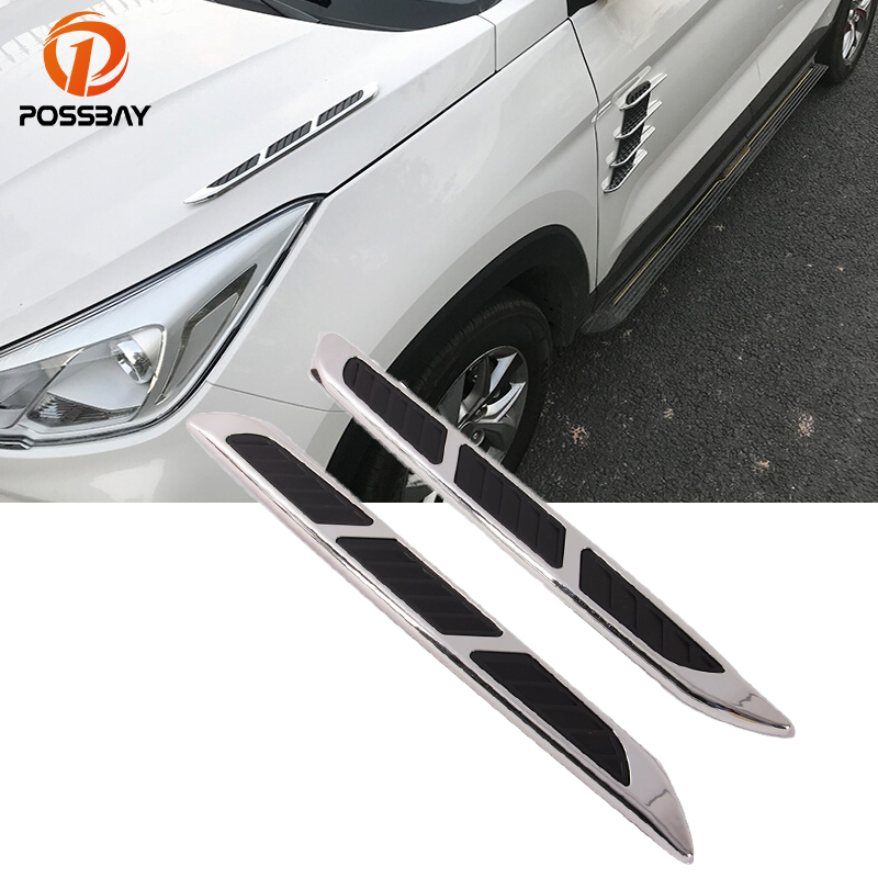 POSSBAY Car Styling Air Intake Flow Vent Car Stickers Automobile Intake Turbo Bonnet Vent Grille Decal Auto Side Decoration