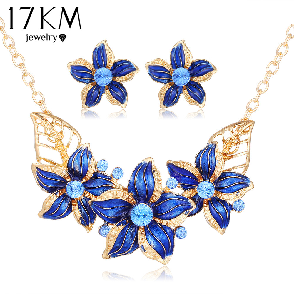 17km New Crystal Flower Jewelry Set Necklace Earrings African Maxi Statement Wedding Bridal Pendant Dress Accessories In Sets From