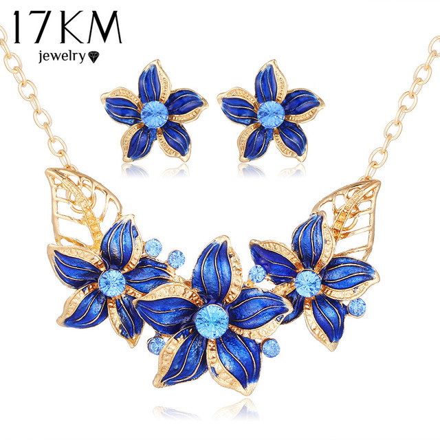 17km New Crystal Flower Jewelry Set Necklace Earrings African Maxi Statement Wedding Bridal Pendant Dress