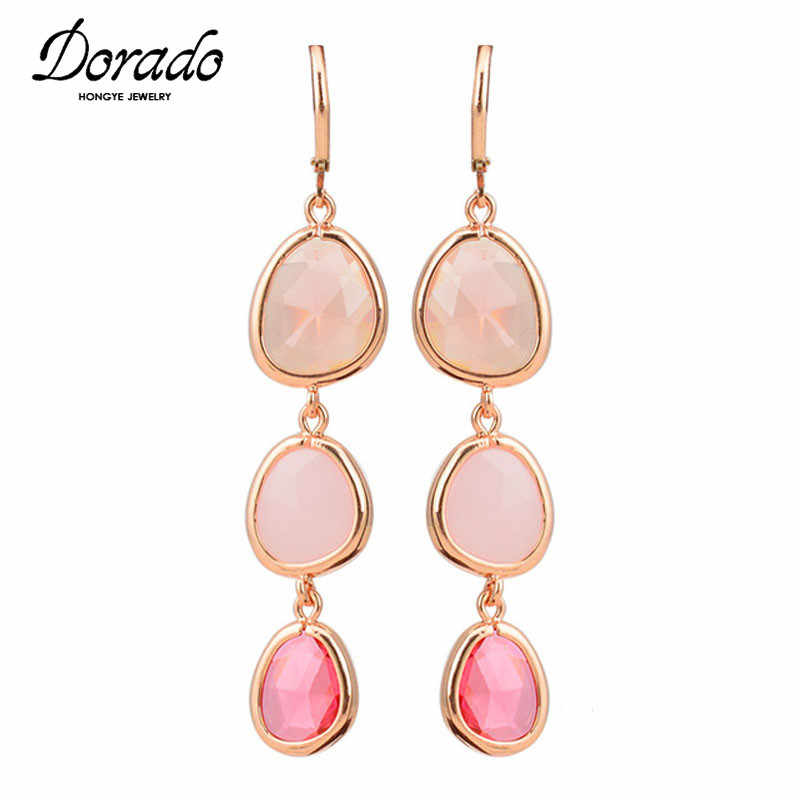 Resin Water Drop Long Earrings For Women Girls Gold Color Alloy Female Dangle Hanging Earring Fashion Ear Jewelry Brincos 2018