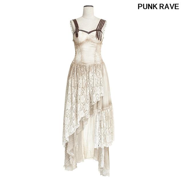 19870f9b927 Steampunk Summer Off Shoulder Long Condole Belt Dress Women Asymmetrical  Hem Lace Matching Do Old Dresses PUNK RAVE Q-291