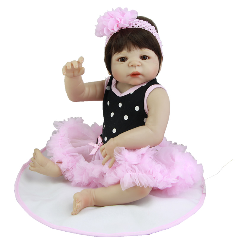 Full Vinyl Doll Reborn 23 Inch Realistic Girl Babies Hair Wig Lifelike Kids Toy Soft Alive Baby Dolls Kids Birthday Xmas Gift handmade girl american doll full body vinyl 18 inch princess girls doll real lifelike reborn alive toy kids birthday gift