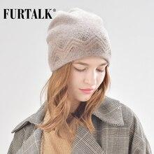 FURTALK Autumn Winter Wool Beanie Hat for Women Rabbit Fur Hats with Rhinestones Double Ling Skullies Cap Female