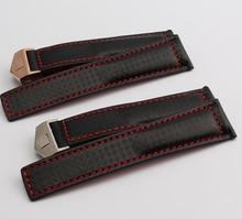 Tejido de fibra de carbono de las correas de accesorios de plata del reloj de despliegue hebilla venda de reloj de las pulseras 20 mm 22 mm cosido rojo línea caliente