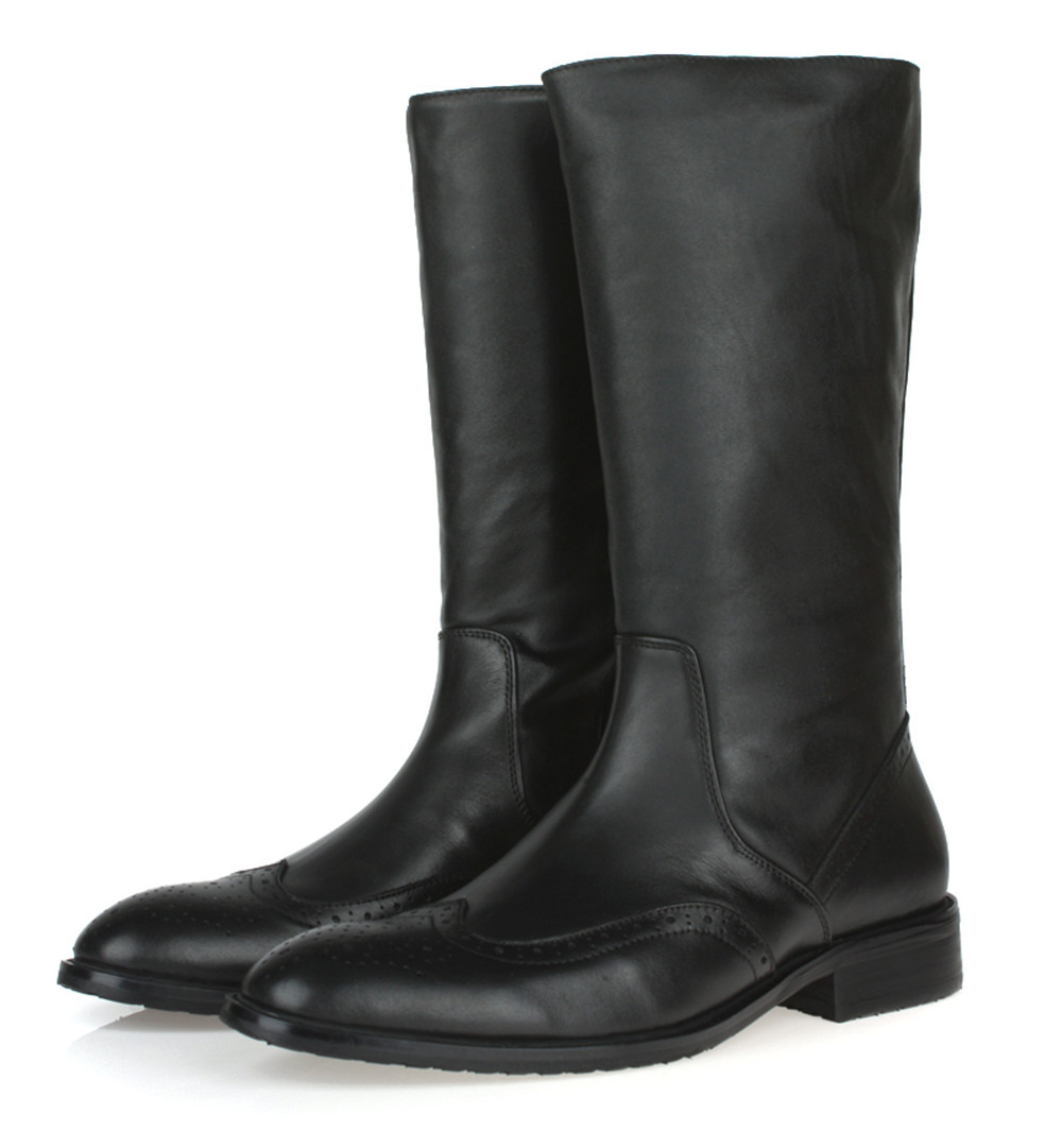 knee high black mens boots genuine leather motorcycle fashion casual winter outdoor shoes