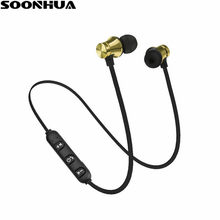 SOONHUA Wireless Magnetic Headphone V4.2 Bluetooth Headset For iPhone Xiaomi Neckband Handsfree Sport Stereo Earphone Auriculare(China)