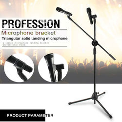 Sturdy Floor-standing Tripod Foldable Microphone Stand Holder Adjustable Desktop Mic Stand Clip Shock Mount Table Karaoke Rotate