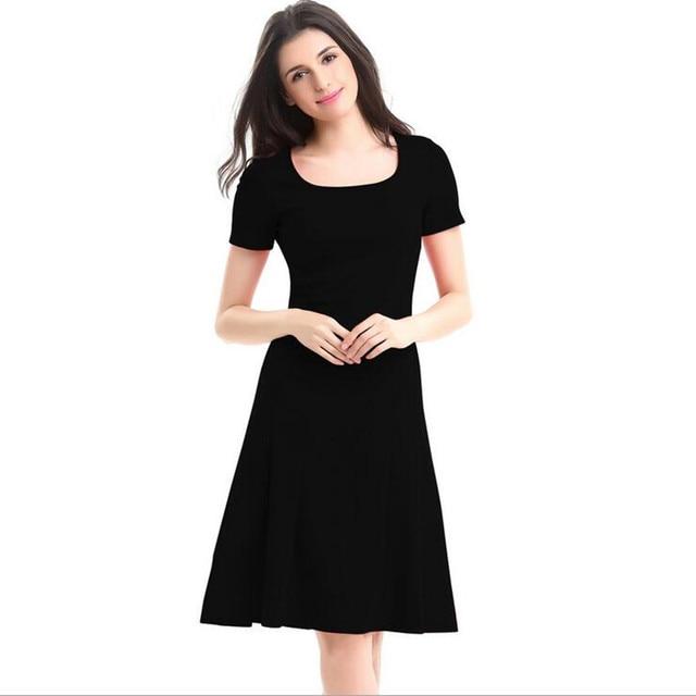S 4XL Plus Size Short Sleeve Square Collar Mermaid Blue Dress Black ...