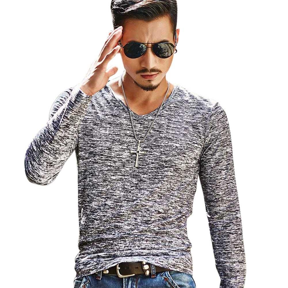 Men V-Neck Long Sleeve T-Shirt Slim Fit Casual Tee Autumn Basic Tops AIC88