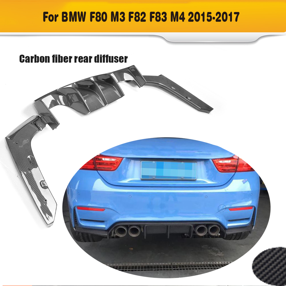Carbon fiber Car rear bumper lip spoiler diffuser With splitters for BMW F80 M3 F82 F83 M4 14-17 Standard Or Convertible V Style m3 m4 z4 e90 e92 e46 f30 f32 f10 f80 f82 rubber carbon fiber car styling rear lip spoiler roof wing for bmw any car