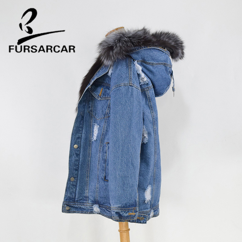 FURSARCAR Fashion New Real Fur Coat Women Winter Jean Coat With Silver Fox Fur Inside Hood Luxury Fox Fur Lining Female Jacket