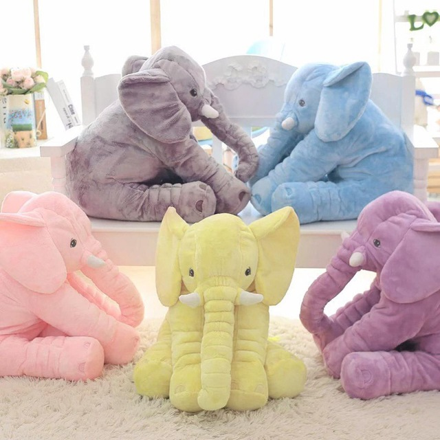 40cm/60cm Height Large Plush Elephant Doll Toy Kids Sleeping Back Cushion Cute Stuffed Elephant Baby Accompany Doll Xmas Gift promotion 7pcs baby cot bumper 100