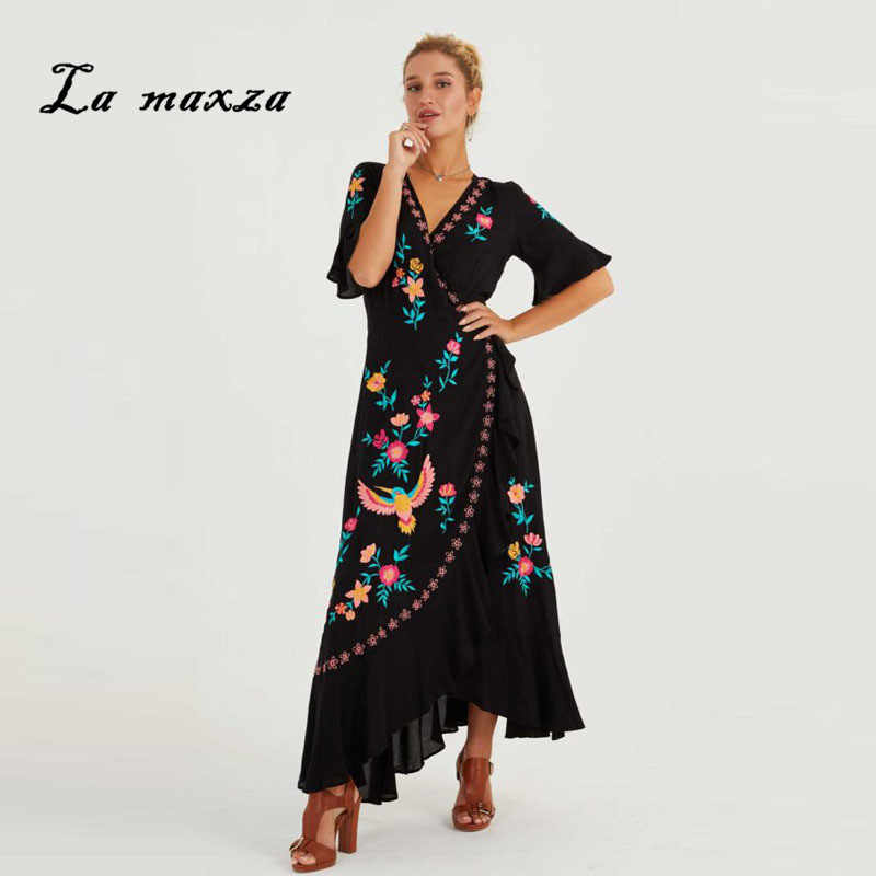 2019 Women Summer Dress Bohemian Sexy Print Embroidery Dresses Elegant Long Plus Size Dress