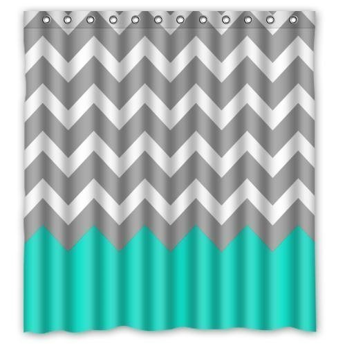 NANAZ Chevron Turquoise Grey White Waterproof Fabric Bathroom Shower Curtain With Hooks 66 X 72