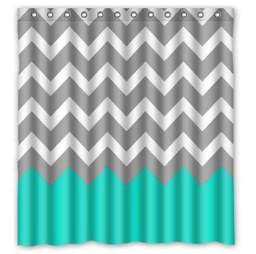 €3.93 45% de réduction|NANAZ Chevron Turquoise gris blanc imperméable tissu  salle de bain rideau de douche avec crochets 66