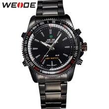 Weide высокое качество аналоговый цифровой из светодиодов часы свободного покроя мода нержавеющая сталь запястье водонепроницаемые спортивные мужчины кварц часовом формате