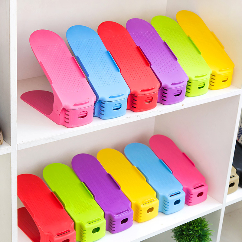Durable Adjustab Shoes Storage Shleves Double-layer Plastic Shoe Holder Save Space Shoes Organizer Stand Shelf mx01121542