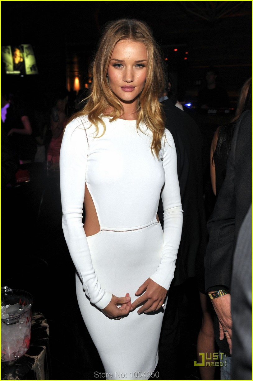 Charming 2018 red carpet gowns Rosie Huntington dress Scoop Long sleeves  Knee length sexy design Evening f7545bc522d3
