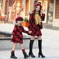 Moda ropa familiar a cuadros capa + vestido 2 unids ropa madre / madre e hija ropa vestidos Cloting familia SD03