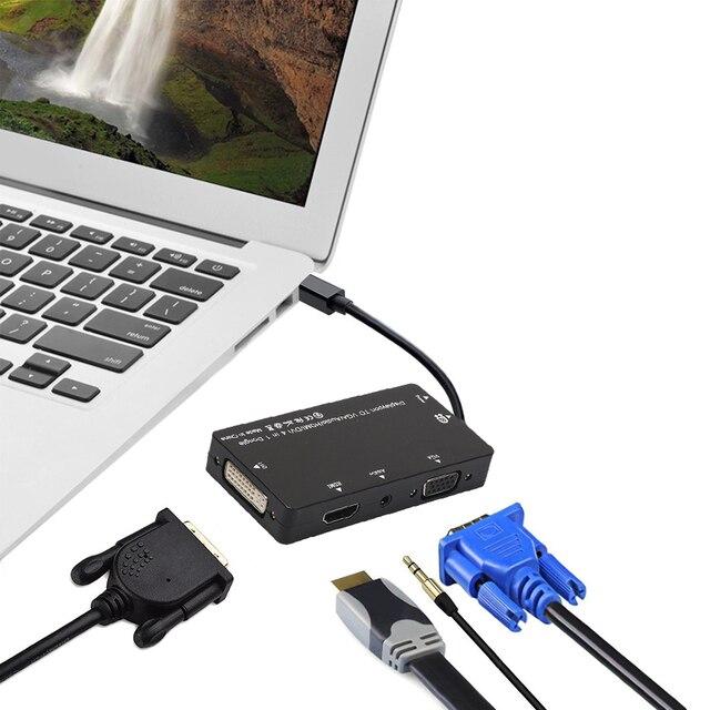 NI5L 4in1 Mini DP Displayport Thunderbolt to DVI / HDMI / VGA & Audio Adapter Best Price