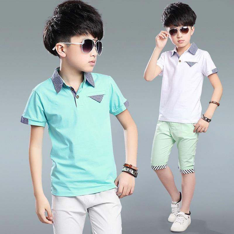 Summer Clothing Kids Pants Top 2Pcs Set Children Tracksuit Teenager Boys Fashion Shorts Tracksuit Clothing Costume Sets H152