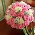 2016 свадебные аксессуары шелковыми лентами ручной многоцветный градиент роз дикие цветы свадебный букет