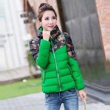 Горячая распродажа 2015 новый! Зимняя куртка женщин тонкий короткий хлопок-ватник печать верхняя одежда пуховик утолщаются теплое зимнее пальто женщин