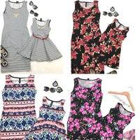 2017 New Mother And Daughter Dress Summer Floral Sleeveless Women Dress Kids Dress Family Match Clothes