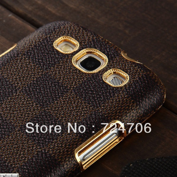 Luxury Grid Leather Case Cover Samsung Galaxy S3 SIII I9300 case DHL/EMS