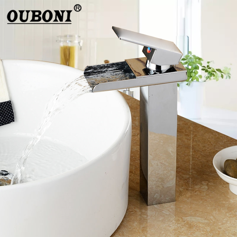 Chrome Finish New Single Handle Wide Spout Bathroom Basin Sink Polished Brass Mixer Tap Waterfall Vanity Faucet ceramic single handle bathroom vanity sink mixer tap chrome finished