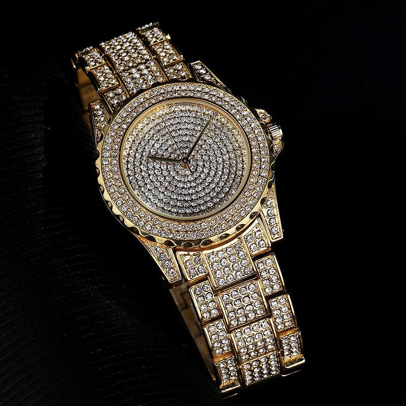 New Hot Gypsophila High-end Quartz Watch Ladies Fashion Business Style Full Rhinestone