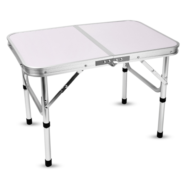 Aluminum Folding Camping Table Laptop Bed Desk Adjustable Height Outdoor  Table