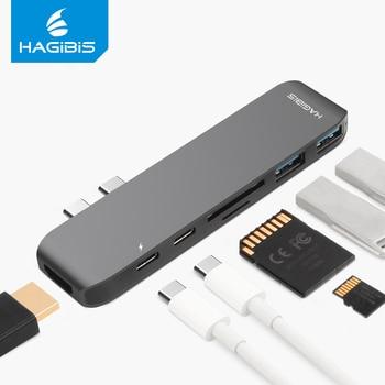 Hagibis 7-in-1 Dual USB-C HUB Type-C Hub Adapter USB-C to HDMI SD/TF Card Reader PD Charging 4K HD for MacBook Pro USB 3.0 HUB USB Hubs