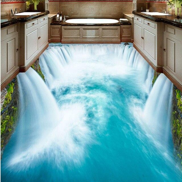 3d fliesen badezimmer boden 3d realistisch Wasserfall bodenfliese ...