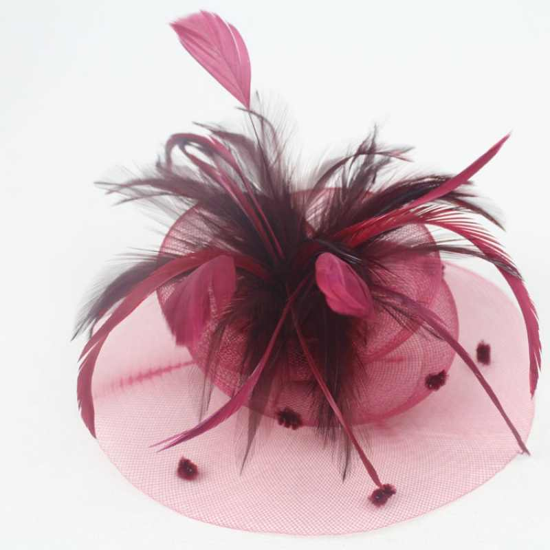 Wedding Party Cocktail Sluier Mini Hoed Cap Feather Veil Hair Clip Fascinato