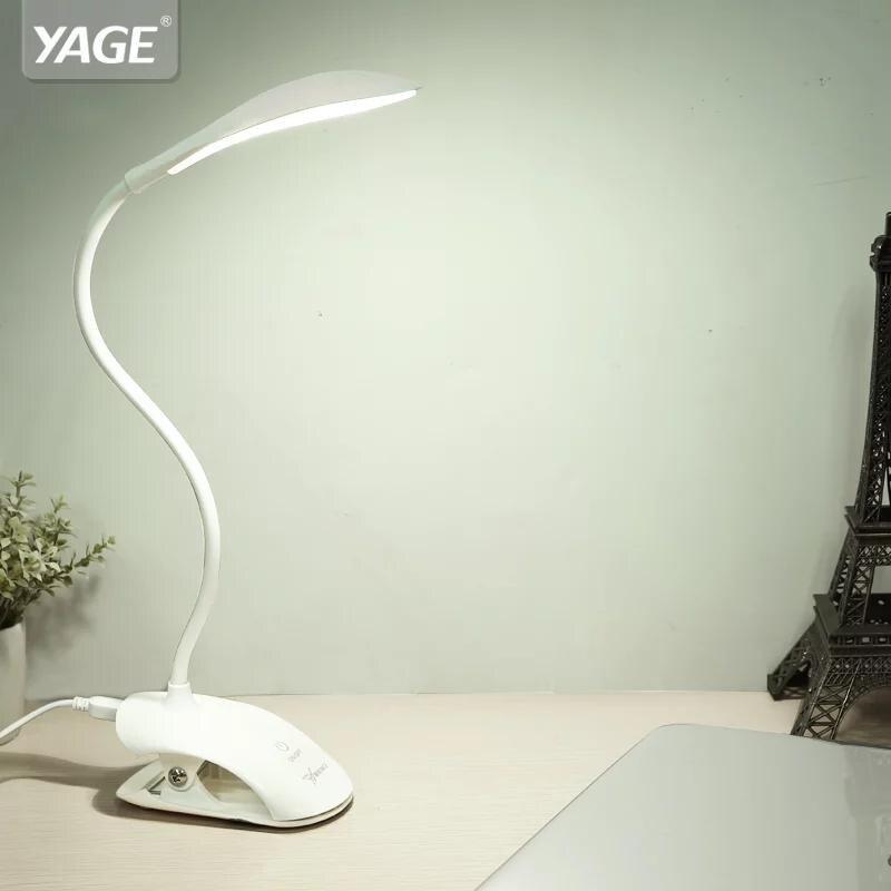 YAGE lámpara de escritorio USB led de la lámpara de mesa 14 LED lámpara de mesa con Clip cama libro de lectura de luz de noche LED de escritorio lámpara de mesa Touch 3 modos