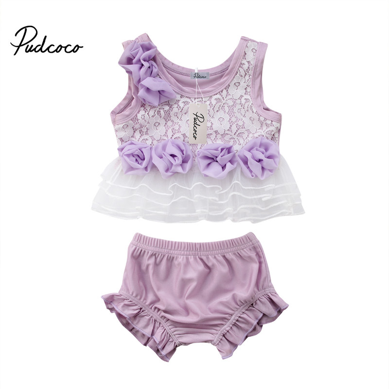 Outfits Pants Tops Shorts Floral Newborn Girls Summer Vest Lace Sleeveless Pudcoc 0-18M