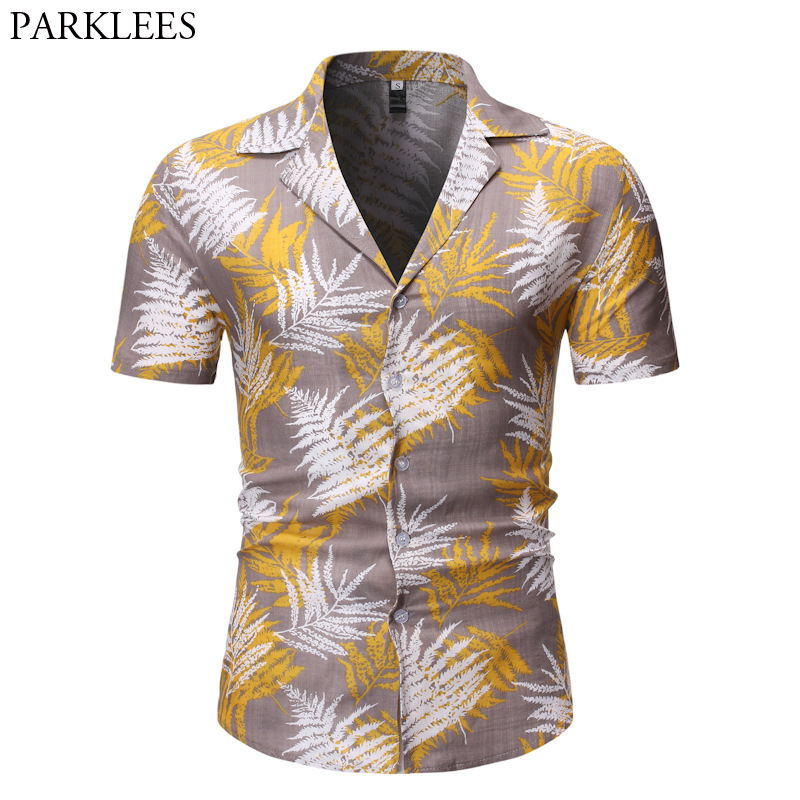 Leaves Print Hawaiin Shirt Men 2019 Summer New Short Sleeve Beach Shirts Mens Casual Button Down Shirts For Holiday Chemise 2XL