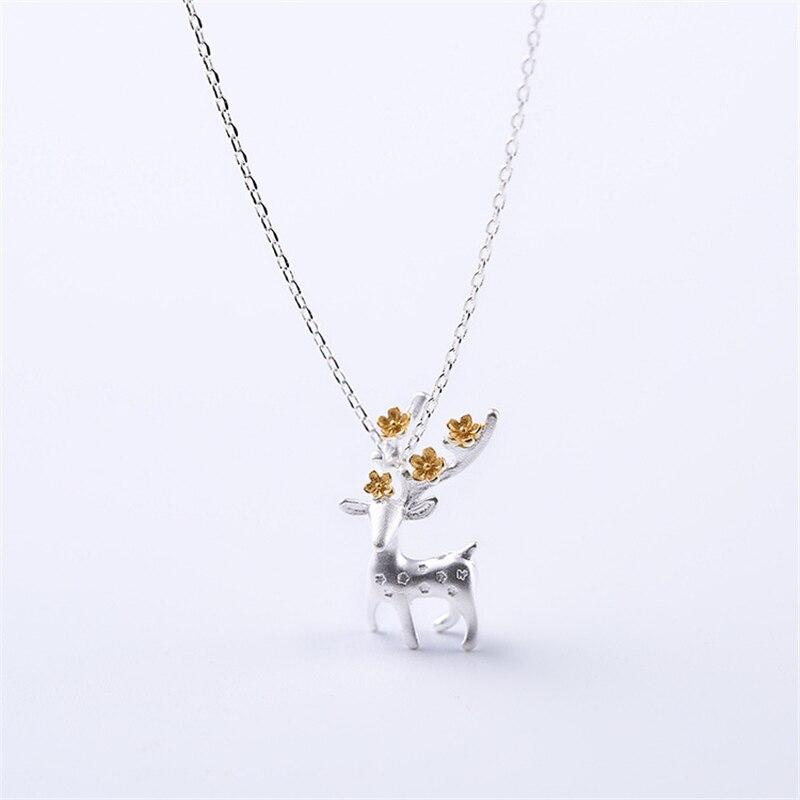 AKOLION módní jelen přívěsky stříbrné řetízky náhrdelníky 925 šperky dárky pro dívky vánoční dárek velkoobchod