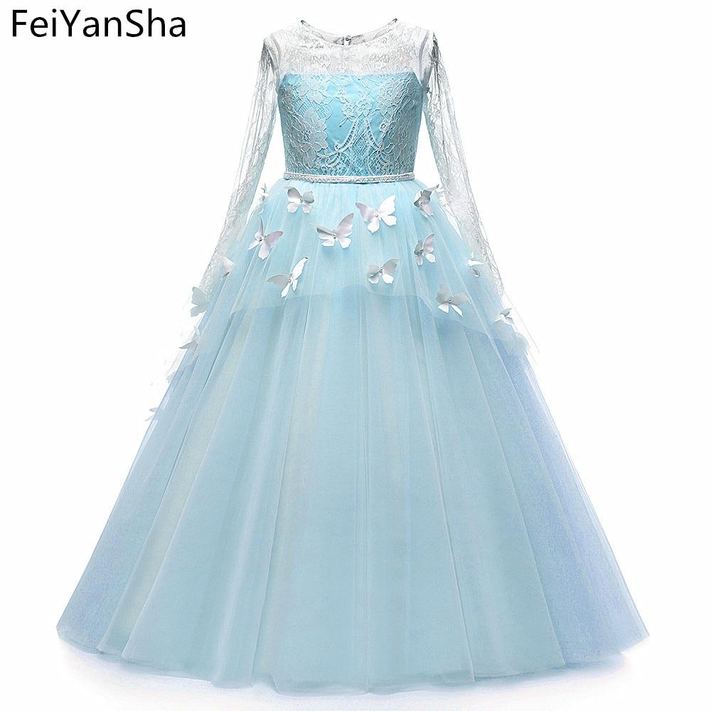 FeiYanSha Flower Girl Dresses Butterfly Girls Dresses White First Primera Communion Dresses Vestido De Daminha Communion Dress