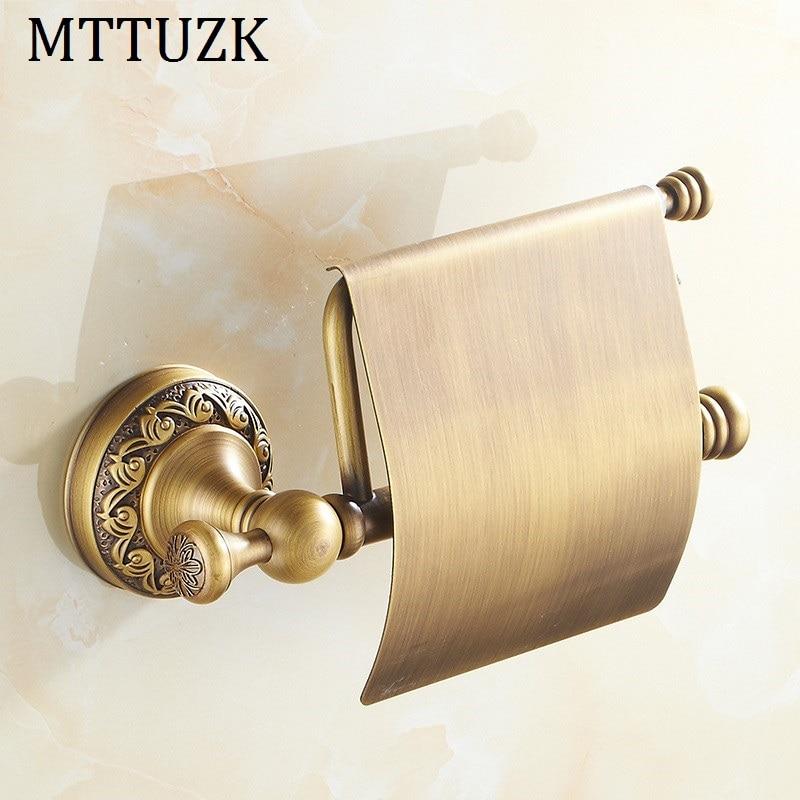 MTTUZK antique brass paper towel rack europe style bathroom paper holder roll Holder tissue toilet paper