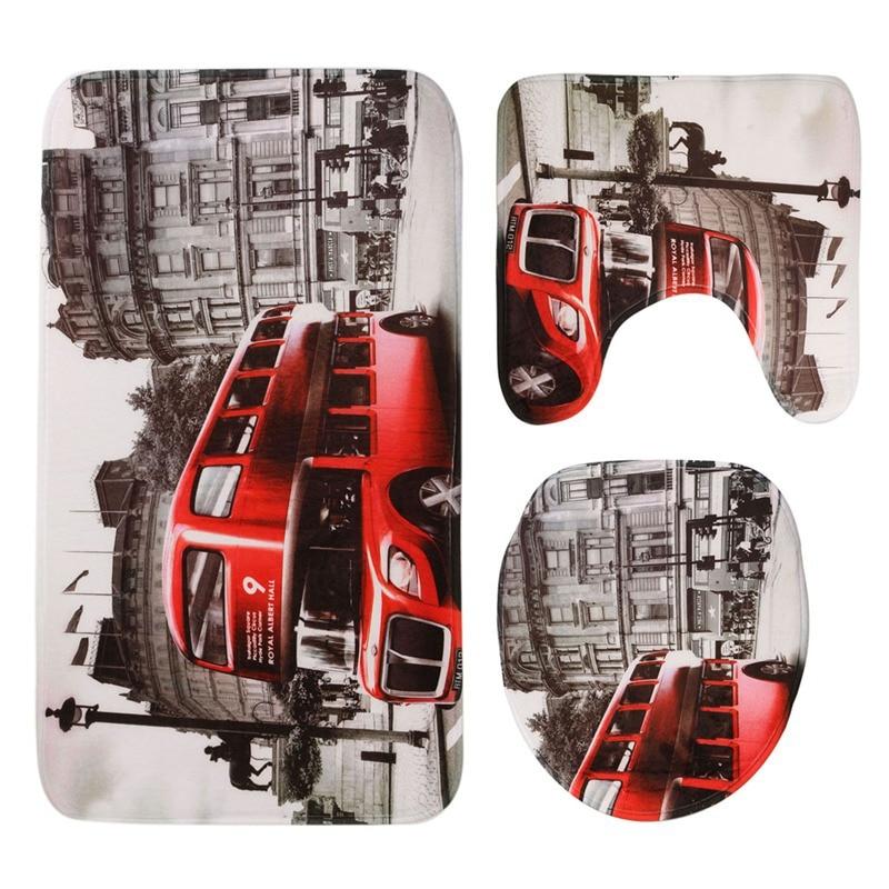 Europe and America style bathroom toilet 3pcs/set London bus Venice Statue of Liberty printing the floor mat carpet mat