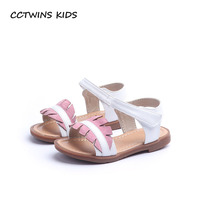 CCTWINS KIDS 2018 Summer Baby Brand Pu Leather Flat Children White Fashion Beach Sandal Girl Soft