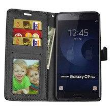 For Samsung C9 Pro Case Cover Flip PU Leather Silicon Soft Back Cover For Samsung c9 pro Case Luxury TPU Fundas Flip Capas stand