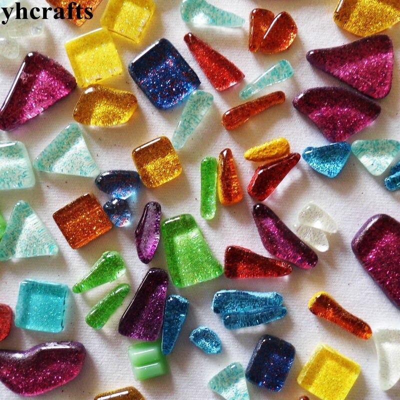 650PCS 1000Gram Lot Mix glitter free shape mosaic DIY Mosaic lantern Marble mosaic Craft material 13cm