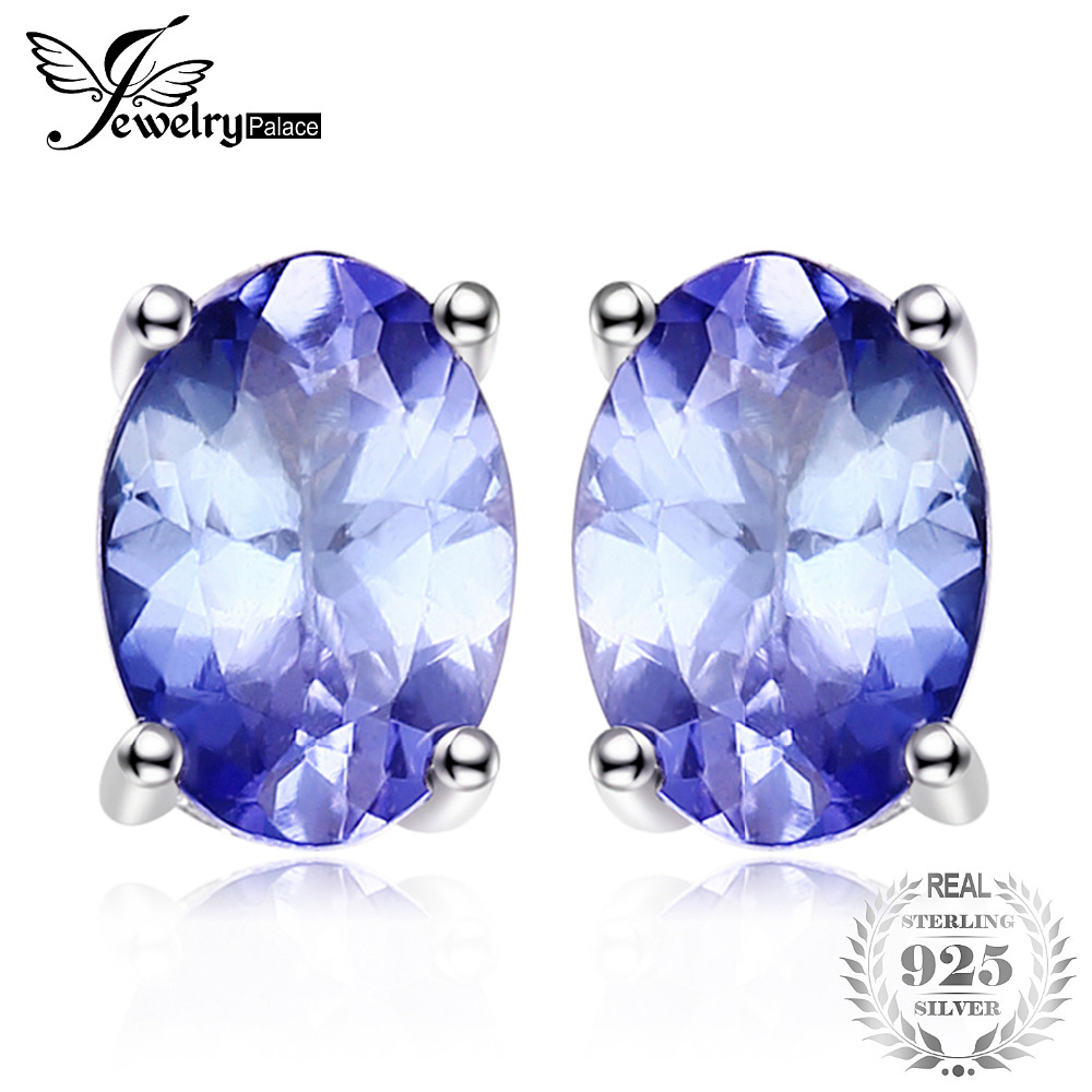 JewelryPalace 925 Sterling Silver 1ct Natural Tanzanites Stud Earrings Statement Fashion Earrings for Women Fine Jewelry