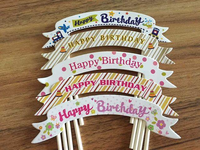 Sale 300pcslot Happy Birthday DecorationHappy Birthday Cake Topper